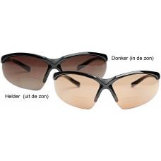 Eagle Five PLUS: Bifocale Sport bril  (leesgedeelte op sterkte) met meekleurende glazen- ZWART frame!! meekleurend van ORANJE tot BRUINE glazen  UITVERKOCHT